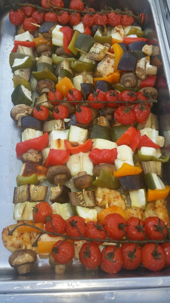 (V) Grilled Vegetable and Haloumi Skewers